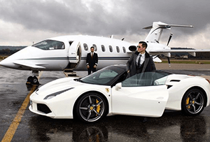 Luxury White car and jetplane image